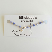 Purple Flower Design Beaded Girls Anklet