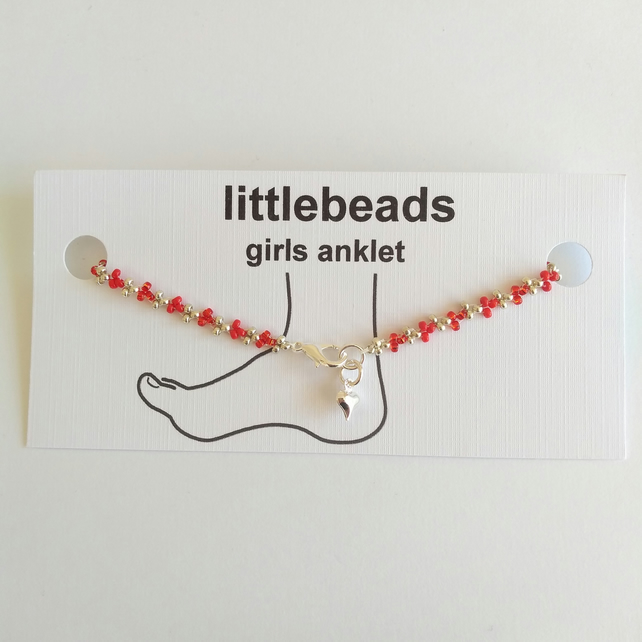 Red and Silver Beaded Girls Anklet