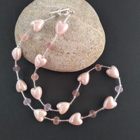 Pale Dusky Pink Heart Beaded Necklace