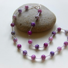 Purple Marble Glass Beaded Necklace