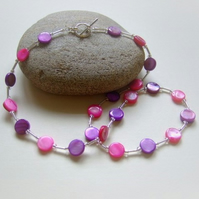 Pink and Purple Dyed Shell Necklace