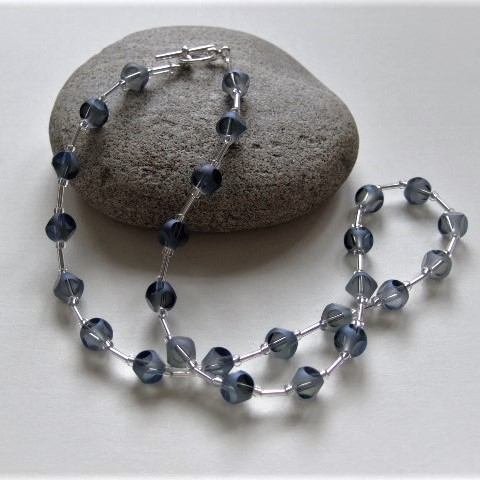 Blue Grey Frosted Mirror Beaded Necklace