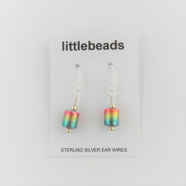 Multi Coloured Glass Tube Beaded Sterling Silver Earrings