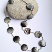 Grey and Black Shell Disc Necklace
