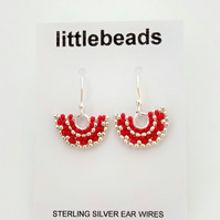 Red and Silver Fan Design Beaded Sterling Silver Earrings