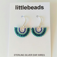 Blue and Turquoise Fan Design Beaded Sterling Silver Earrings