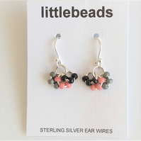 Grey, Coral and Black Cluster Design Sterling Silver Earrings