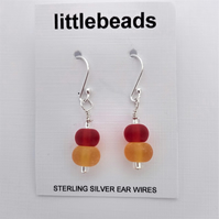 Autumn Colours Frosted Glass Beaded Sterling Silver Earrings