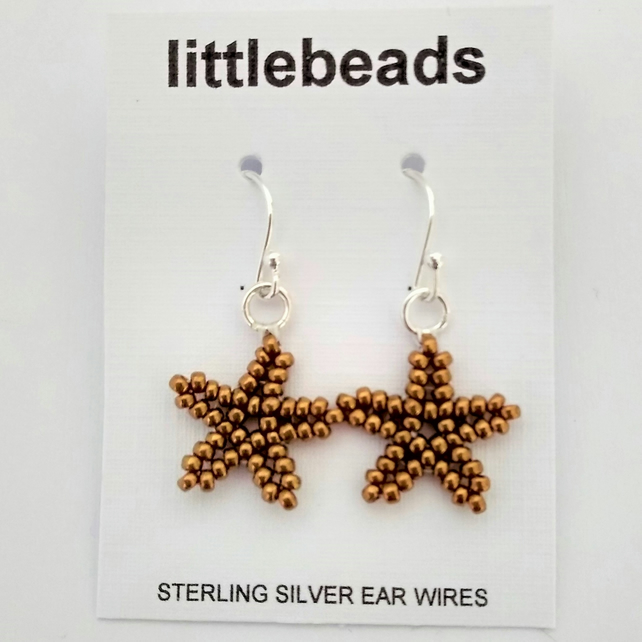 Bronze Beaded Sterling Silver Starfish Earrings