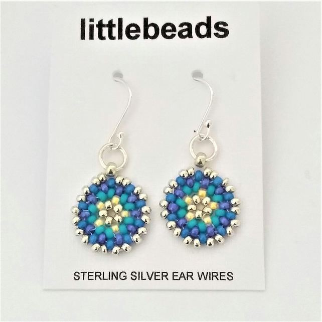 Blue, Purple, Silver, Turquoise and Yellow Seed Beaded Sterling Silver Earrings