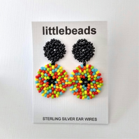 Multi Coloured Seed Bead and Sterling Silver Dangle Earrings