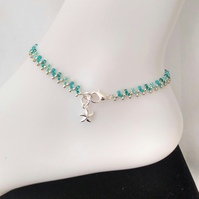 Turquoise and Silver Seed Beaded Anklet