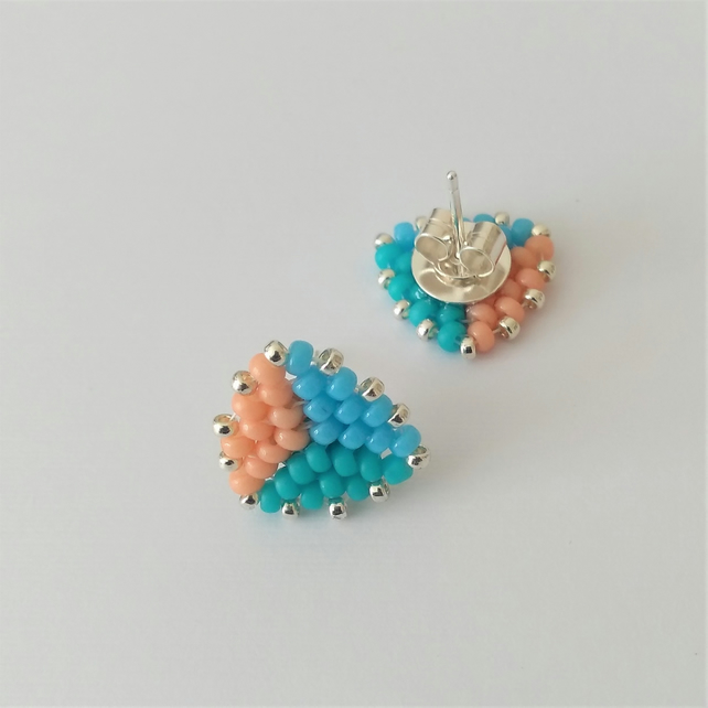 Blue, Turquoise and Peach Triangle Sterling Silver Stud Earrings