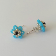 Turquoise Blue, Silver and Black Beaded Flower Sterling Silver Stud Earrings