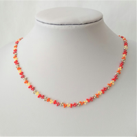 "16"" Red, Orange, Silver and Yellow Seed Beaded Necklace"