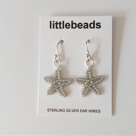 Grey Starfish Design Seed Beaded Sterling Silver Earrings