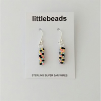 Black, Yellow, Turquoise and Flamingo Seed Bead Sterling Silver Earrings