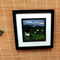 Needle Felted magpie and sheep picture (in frame)