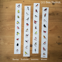 Four seasons bird fabric strips