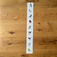 Summer meadow birds fabric strip