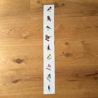 Autumn woodland bird fabric strip
