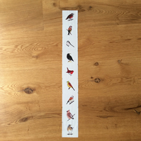 Winter hedgerow bird fabric strip