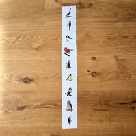 Woodland birds fabric strip
