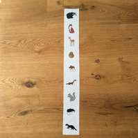 Woodland mammals fabric strip