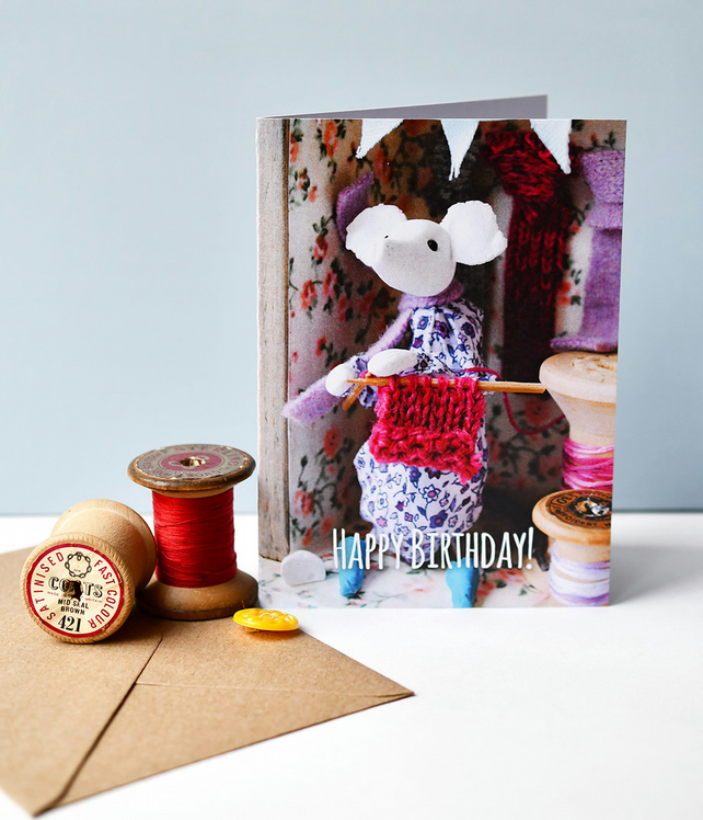 Kathryn Ashcroft Knitting Mouse birthday card