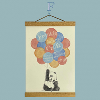 Personalised Panda Balloon Print