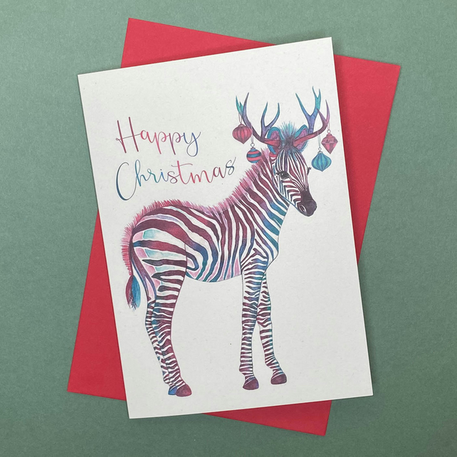 Christmas Zebra Card
