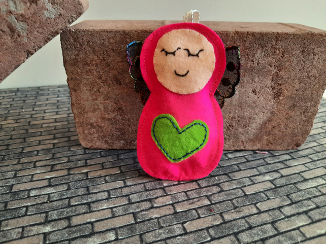Hot Pink Angel Lavender Bag - Heart Embellishment