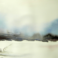 A Fence in the Snow, Original Watercolour Painting.