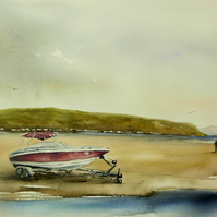 Boat on Abersoch Beach, Commission Watercolour Painting.