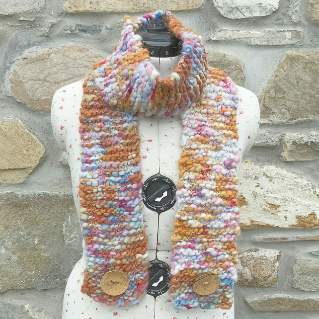 Chunky Scarf. Hand Knitted Scarf. Woollen Scarf. Winter Scarf. Warm Scarf.
