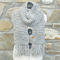 Chunky Scarf. Hand Knitted Scarf. Grey Scarf. Cosy Scarf. Woollen Scarf.