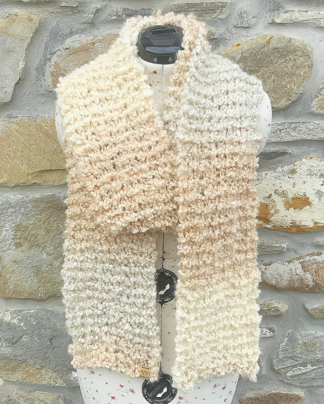 Chunky Scarf. Super Soft Scarf. Long Scarf. Cream Scarf. Knitted Scarf.