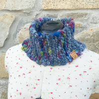 Hand Knitted Cowl. Knitted Scarf. Neck Warmer. Chunky Scarf. Wool Scarf. Scarves