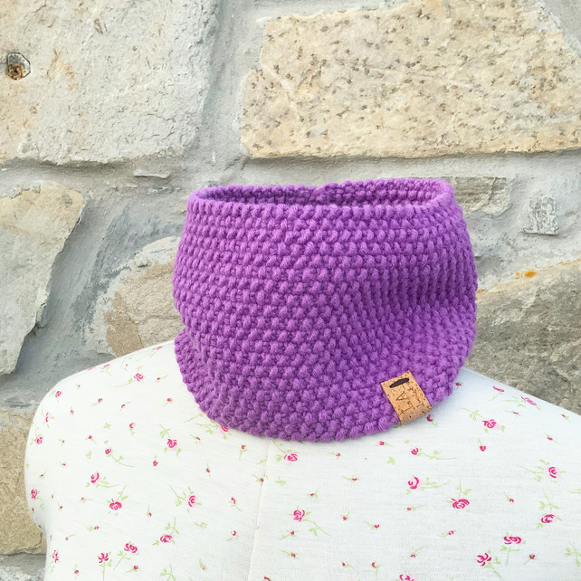 Hand Knitted Neck Warmer. Cowl. Infinity Scarf. Headband. Lavender Scarf.
