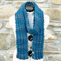 Chunky Scarf. Blue Scarf. Hand Knitted Scarf. Woolly Scarf. Woollen Scarf.