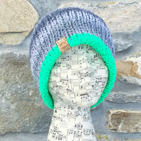 Reflective Hat. Green Hat. Grey Hat. Reversible Hat. Woolly Hat. Knitted Hat.