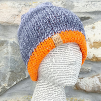 Reflective Hat. Reversible Hat. Orange Hat. Grey Hat. Beanie. Slouchy.