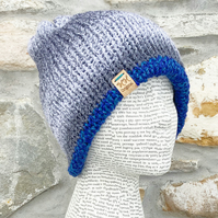 Sparkly Hat. Reversible Hat. Blue Hat. Grey Hat. Woolly Hat. Beanie. Slouchy.