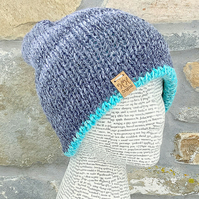 Reversible Hat. Beanie. Slouchy. Woollen Hat. Blue Hat. Knitted Hat. Grey Hat.