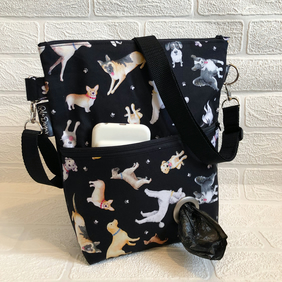 Dog walking bags, mixed breeds black