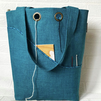 Knitting project bag, teal
