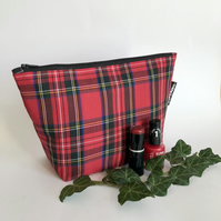 Makeup, toiletry bag , red tartan