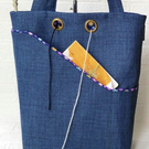 Knitting project bag, blue floral
