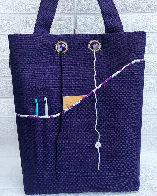 Knitting project bag, purple flowers
