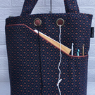 Knitting project bag, blue and copper